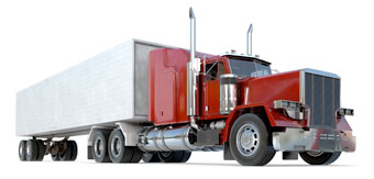 red 18 wheeler truck