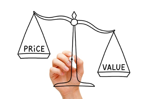 Scales weighing price against value in acquisition process